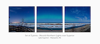 Display a print in a different way with this 3-print photo split of the Lake Superior shoreline illuminated by the moon and an Aurora band. Marquette, MI