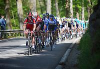 Steven Cummings (GBR/BMC) sets the pace for the peloton up the Côte de La Roche-en-Ardenne while the breakaway group rides more than 15 minutes up ahead<br /> <br /> Liège-Bastogne-Liège 2014