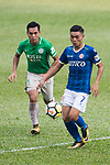 Yiu Kwok of Rangers of Rangers (R) in action against Kwun Chung Leung of Wofoo Tai Po (L) during the week three Premier League match between BC Rangers and Wofoo Tai Po at Sham Shui Po Sports Ground on September 17, 2017 in Hong Kong, China. Photo by Marcio Rodrigo Machado / Power Sport Images
