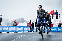 James Knox (GBR/Deceuninck - Quick Step) escorting Remco Evenepoel (BEL/Deceuninck-QuickStep), who is having another off-day) over the Passo Giau<br /> <br /> due to the bad weather conditions the stage was shortened (on the raceday) to 153km and the Passo Giau became this years Cima Coppi (highest point of the Giro).<br /> <br /> 104th Giro d'Italia 2021 (2.UWT)<br /> Stage 16 from Sacile to Cortina d'Ampezzo (shortened from 212km to 153km)<br /> <br /> ©kramon