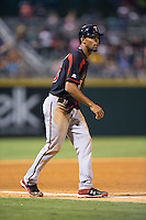 Byron Buxton (53) of the Rochester Red Wings takes his lead off of third base against the Charlotte Knights at BB&T BallPark on August 8, 2015 in Charlotte, North Carolina.  The Red Wings defeated the Knights 3-0.  (Brian Westerholt/Four Seam Images)