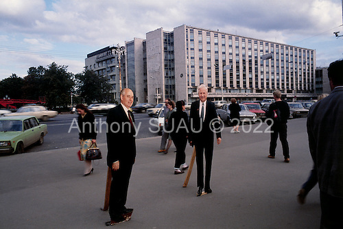 """Moscow, Russia<br /> Soviet Union<br /> August 30, 1991<br /> <br /> Stand up cut outs, to have your picture taken with, of Soviet President  Mikhail Gorbachev and President Boris Yeltsin, both leaders during the demise of the former Soviet Union and the transitional period from Communism to a Democratic Russia.<br /> <br /> In December 1991, food shortages in central Russia had prompted food rationing in the Moscow area for the first time since World War II. Amid steady collapse, Soviet President Gorbachev and his government continued to oppose rapid market reforms like Yavlinsky's """"500 Days"""" program. To break Gorbachev's opposition, Yeltsin decided to disband the USSR in accordance with the Treaty of the Union of 1922 and thereby remove Gorbachev and the Soviet government from power. The step was also enthusiastically supported by the governments of Ukraine and Belarus, which were parties of the Treaty of 1922 along with Russia.<br /> <br /> On December 21, 1991, representatives of all member republics except Georgia signed the Alma-Ata Protocol, in which they confirmed the dissolution of the Union. That same day, all former-Soviet republics agreed to join the CIS, with the exception of the three Baltic States."""
