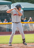 31 July 2016: Connecticut Tigers infielder Blaise Salter in action against the Vermont Lake Monsters at Centennial Field in Burlington, Vermont. The Lake Monsters edged out the Tigers 4-3 in NY Penn League action.  Mandatory Credit: Ed Wolfstein Photo *** RAW (NEF) Image File Available ***