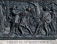Montreal (Qc) CANADA - Dec 1998 -<br /> engraving in PLace d'armes depicting French fighting with native indians on the site.<br /> <br /> Monument à la mémoire de Paul de Chomedey, sieur de Maisonneuve