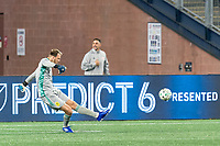FOXBOROUGH, MA - OCTOBER 3: Joe Willis #1 of Nashville SC takes a goal kick during a game between Nashville SC and New England Revolution at Gillette Stadium on October 3, 2020 in Foxborough, Massachusetts.