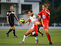 (Left to right) Hannah Eurlings of OHL (9) and Sheila Broos of Woluwe (20) battle for the ball during a female soccer game between Oud Heverlee Leuven and Femina White Star Woluwe  on the 5 th matchday of the 2020 - 2021 season of Belgian Womens Super League , Sunday 18 th of October 2020  in Heverlee , Belgium . PHOTO SPORTPIX.BE | SPP | SEVIL OKTEM