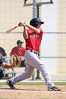 Boston Red Sox outfielder Pete Hissey #18 during an Instructional League game against the Minnesota Twins at Red Sox Minor League Training Complex in Fort Myers, Florida;  October 3, 2011.  (Mike Janes/Four Seam Images)