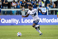 SAN JOSE, CA - AUGUST 13: Janio Bikel #19 of the Vancouver Whitecaps dribbles the ball during a game between San Jose Earthquakes and Vancouver Whitecaps at PayPal Park on August 13, 2021 in San Jose, California.