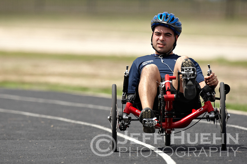 SAN ANTONIO , TX - SEPTEMBER 17, 2009: Day 2 of the United States Olympic Committee Paralympic Military Sports Camp at Fort Sam Houston's Jimmy Brought Fitness Center. (Photo by Jeff Huehn)