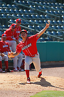 Lakewood BlueClaws pitcher JoJo Romero (6) throwing in the bullpen before a game against the Charleston RiverDogs  on May 3, 2017 at Joseph P. Riley Ballpark in Charleston, South Carolina. Lakewood defeated Charleston 10-6. (Robert Gurganus/Four Seam Images)