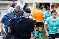 The piper welcomes the players during the Championship Cup match between London Scottish Football Club and Nottingham Rugby at Richmond Athletic Ground, Richmond, United Kingdom on 28 September 2019. Photo by Carlton Myrie / PRiME Media Images