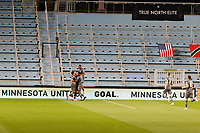 ST PAUL, MN - SEPTEMBER 06: Minnesota United FC celebrates a goal by Chase Gasper #77 of Minnesota United FC during a game between Real Salt Lake and Minnesota United FC at Allianz Field on September 06, 2020 in St Paul, Minnesota.