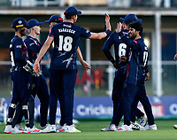 Qais Ahmad (R) of Kent is congratulated by Fred Klaassen after taking the wicket of Glenn Phillips during Kent Spitfires vs Gloucestershire, Vitality Blast T20 Cricket at The Spitfire Ground on 13th June 2021