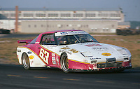 The #63 RGP 500 Racing  Mazda RX-7 of Jim Downing, John Maffucci and Chuck Ulinski races to an 18th place finish at  the 12 Hours of Sebring endurance sports car race, March 19, 1983.  (Photo by Brian Cleary/www.bcpix.com)