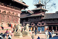 temple lions and pagoda in Durbar Square, Katmandu