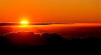 Sunrise at 9,740 feet, Mt. Haleakala in Haleakala National Park, Maui.