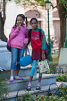 Cuba, Havana.   Cuba's Young Generation.  Young Children en Route to School.