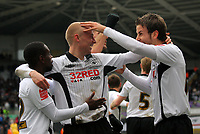 ATTENTION SPORTS PICTURE DESK<br /> Pictured: (L-R) Nathan Dyer, David Cotterill and Andrea Orland of Swansea City in action<br /> Re: Coca Cola Championship, Swansea City Football Club v Newcastle United at the Liberty Stadium, Swansea, south Wales. 13 February 2010