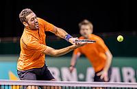 Rotterdam, The Netherlands, 28 Februari 2021, ABNAMRO World Tennis Tournament, Ahoy, Qualyfying doubles match:  Sander Arends (NED) (R) and David Pel (NED)<br /> Photo: www.tennisimages.com/henkkoster