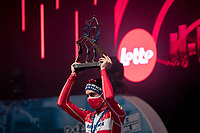 indoor (TV studio) podium cermony where Kasper Asgreen (DEN/Deceuninck - Quick Step) is awarded the win of the 64th E3 Classic 2021 (1.UWT)<br /> <br /> 1 day race from Harelbeke to Harelbeke (BEL/204km)<br /> <br /> ©kramon