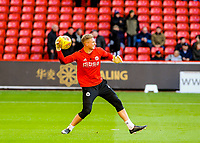 Sheffield United's goalkeeper Simon Moore (1) warming up during the Sky Bet Championship match between Sheff United and Hull City at Bramall Lane, Sheffield, England on 4 November 2017. Photo by Stephen Buckley / PRiME Media Images.