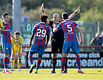 Inverness Caley v St Johnstone…08.04.17     SPFL    Tulloch Stadium<br />Ref Stephen Finnie shows Larnell Cole a straight red car<br />Picture by Graeme Hart.<br />Copyright Perthshire Picture Agency<br />Tel: 01738 623350  Mobile: 07990 594431
