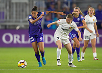 Orlando, FL - Saturday March 24, 2018:  Orlando Pride defender Poliana Barbosa Medeiros (19) dribbles away from Utah Royals defender Becca Moros (2) during a regular season National Women's Soccer League (NWSL) match between the Orlando Pride and the Utah Royals FC at Orlando City Stadium. The game ended in a 1-1 draw.
