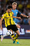 Borussia Dortmund defender Marc Bartra (l) and Manchester City striker Alex Zinchenko (r) during the match between Manchester City vs Borussia Dortmund at the 2016 International Champions Cup China match at the Shenzhen Stadium on 28 July 2016 in Shenzhen, China. Photo by Victor Fraile / Power Sport Images