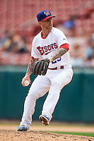Buffalo Bisons pitcher Bobby Korecky (29) delivers a pitch during a game against the Columbus Clippers on July 19, 2015 at Coca-Cola Field in Buffalo, New York.  Buffalo defeated Columbus 4-3 in twelve innings.  (Mike Janes/Four Seam Images)