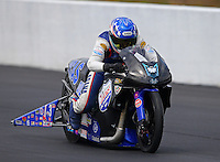 Mar 14, 2015; Gainesville, FL, USA; NHRA pro stock motorcycle rider Hector Arana Jr during qualifying for the Gatornationals at Auto Plus Raceway at Gainesville. Mandatory Credit: Mark J. Rebilas-
