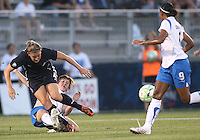 Cat Whitehill #4 of the Washington Freedom loses the ball to Amy LePelbet #6 of the Boston Breakers during a WPS match at Maryland Soccerplex on July 29, in Boyds, Maryland. Freedom won 1-0.