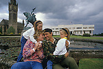 Duke of Westminster. 1990s at Eaton Hall which is the white modern building in background. Chapel Tower on left. With wife, Natalia Grosvenor, Duchess of Westminster and daughters  Edwina and Tamara Grosvenor.