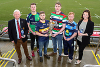 Monday 24th February 2020 | Deep River Rock Ulster Towns Cup Semi-Final Draw<br /> <br /> Pictured at the Deep River Rock Ulster Towns Cup Semi-Final draw are Ulster Branch Senior Vice President Philip Gregg, Ballynahinch RFC 2s captain Eamon McAnulty, Banbridge RFC 2s captain Aaron Kennedy, Ballyclare RFC captain Josh Young, Dromore RFC captain Lee Steenson and Hillary Hughes representing the sponsors Deep River Rock at Kingspan Stadium today. Photo by John Dickson / DICKSONDIGITAL