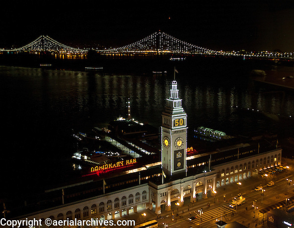aerial photograph Ferry Building during Super Bowl 50, San Francisco, California at night