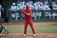 J.T. Jarrett (15) of the North Carolina State Wolfpack at bat against the North Carolina Tar Heels at Boshamer Stadium on March 27, 2021 in Chapel Hill, North Carolina. (Brian Westerholt/Four Seam Images)