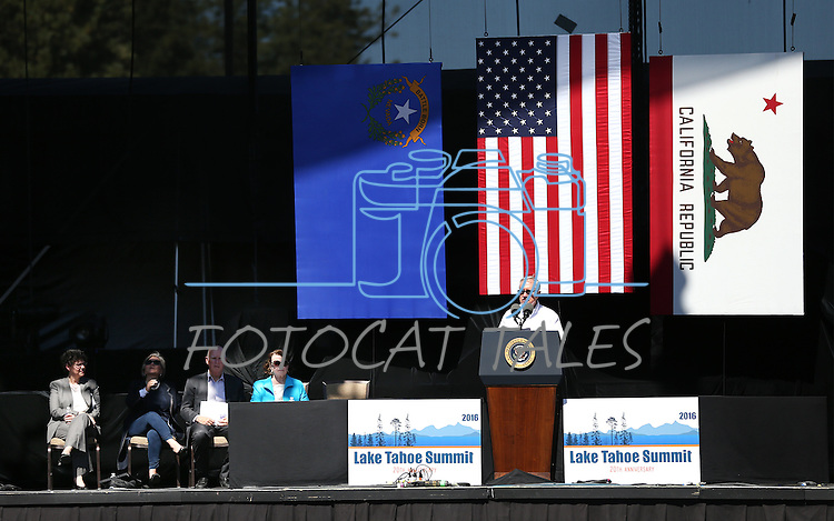 U.S. Sen. Harry Reid speaks at the 20th annual Tahoe Summit in Stateline, Nev., on Wednesday, Aug. 31, 2016. Pres. Barack Obama was the keynote speaker at the event which focuses attention on protecting Lake Tahoe. Cathleen Allison/Las Vegas Review-Journal