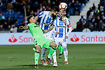 CD Leganes's Dimitrios Siovas and Levante UD's Roger Marti during La Liga match between CD Leganes and Levante UD at Butarque Stadium in Leganes, Spain. March 04, 2019. (ALTERPHOTOS/A. Perez Meca)