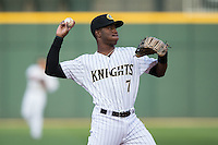 Charlotte Knights shortstop Tim Anderson (7) warms up between innings of the game against the Durham Bulls at BB&T BallPark on April 14, 2016 in Charlotte, North Carolina.  The Bulls defeated the Knights 2-0.  (Brian Westerholt/Four Seam Images)