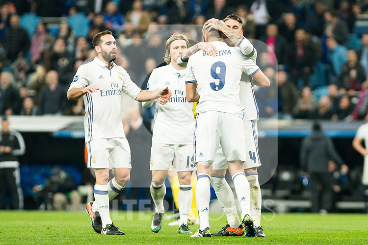 Real Madrid's Karim Benzema , Sergio Ramos , Luka Modric during Champions League match between Real Madrid and Borussia Dortmund  at Santiago Bernabeu Stadium in Madrid , Spain. December 07, 2016. (ALTERPHOTOS/Rodrigo Jimenez)