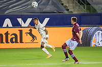CARSON, CA - SEPTEMBER 19: Julian Araujo #22 of the Los Angeles Galaxy crosses over a ball during a game between Colorado Rapids and Los Angeles Galaxy at Dignity Heath Sports Park on September 19, 2020 in Carson, California.