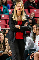 COLLEGE PARK, MD - FEBRUARY 9: Brenda Frese coach of Maryland follows a play during a game between Rutgers and Maryland at Xfinity Center on February 9, 2020 in College Park, Maryland.