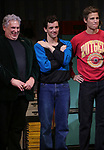 """Harvey Fierstein, Michael Urie and Ward Horton during the Broadway Opening Night Curtain Call for """"Torch Song"""" at the Hayes Theater on November 1, 2018 in New York City."""