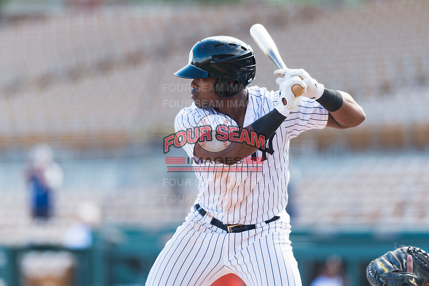 Glendale Desert Dogs designated hitter Steven Sensley (21), of the New York Yankees organization, at bat during an Arizona Fall League game against the Scottsdale Scorpions at Camelback Ranch on October 16, 2018 in Glendale, Arizona. Scottsdale defeated Glendale 6-1. (Zachary Lucy/Four Seam Images)