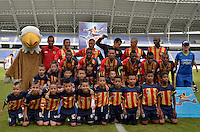 PEREIRA -COLOMBIA- 16-11-2014. Jugadores  de Aguilas Pereira posan para una foto previo al encuentro con  Deportes Tolima por la fecha 1 de los cuadrangulares finales de la Liga Postobon II 2014 jugado en el estadio Hernán Ramírez Villegas de Pereira./ Players of Aguilas Pereira pose to a photo prior a match against Deportes Tolima for the first date of the final quadrangular of the  Postobon League II 2014 played at Hernan Ramirez Villegas of Pereira city.  Photo:VizzorImage/ CONT