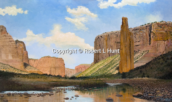 """Spider Rock in Arizona desert landscape at Canyon de Chelly National Park, home to legendary Navajo diety Spider Woman. Oil on canvas, 18"""" x 28""""."""