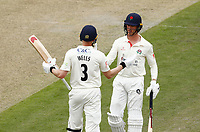 28th May 2021; Emirates Old Trafford, Manchester, Lancashire, England; County Championship Cricket, Lancashire versus Yorkshire, Day 2; Luke Wells of Lancashire is congratulated by batting partner Keaton Jennings after he reaches his half century on the second day