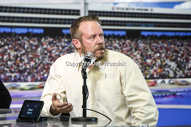 MARK GEIST, does an interview for his new movie, 13 Hours: The Secret Soldiers of Benghazi, before the NASCAR AAA Texas 500 race at Texas Motor Speedway in Fort Worth,Texas.
