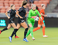 HOUSTON, TX - SEPTEMBER 10: Jane Campbell #1 of the Houston Dash clears the ball from her goal during a game between Chicago Red Stars and Houston Dash at BBVA Stadium on September 10, 2021 in Houston, Texas.