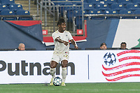FOXBOROUGH, MA - AUGUST 5: Peter Pearson #12 of North Carolina FC looks to pass during a game between North Carolina FC and New England Revolution II at Gillette Stadium on August 5, 2021 in Foxborough, Massachusetts.