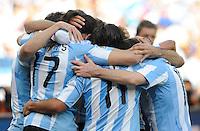 Gonzalo Higuain of Argentina celebrates the 2nd goal with team mates